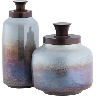Uttermost Ayla Glass Bronze Decorative Containers Set of 2