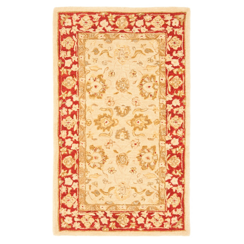 Ivory/Red Floral Tufted Accent Rug 3'X5' - Safavieh