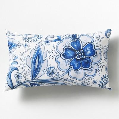 Lakeside Floral Watercolor Decorative Lumbar Throw Pillow - Spring Season Accent