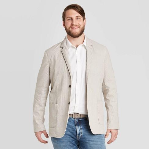 Men S Big Tall Striped Standard Fit Seersucker Kenwood Blazer