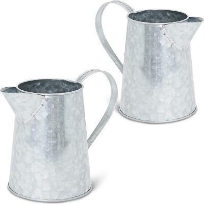 2 Pack Galvanized Metal Jug with Handle for Holding Artificial Flowers, Plants and Home Decor