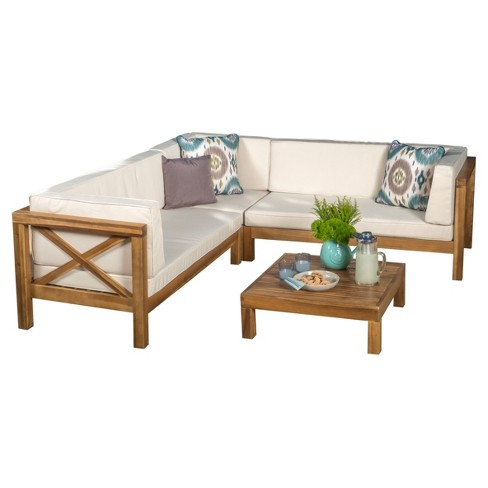 Brava 4pc Wood Patio Chat Set w/ Cushions - Christopher Knight Home - image 1 of 4