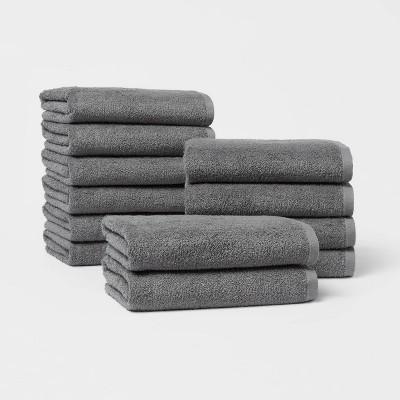 12pk Everyday Bath Towel Bundle Dark Gray - Room Essentials™