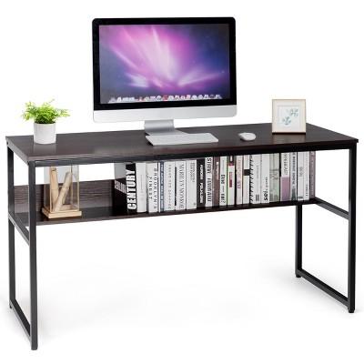 Costway 55'' Industrial Computer Desk  w/ Storage Shelf  Adjustable Foot Pads Home Office