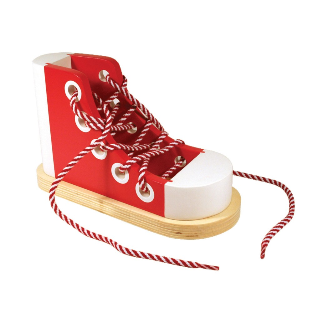 Melissa 38 Doug Deluxe Wood Lacing Sneaker Learn To Tie A Shoe Educational Toy