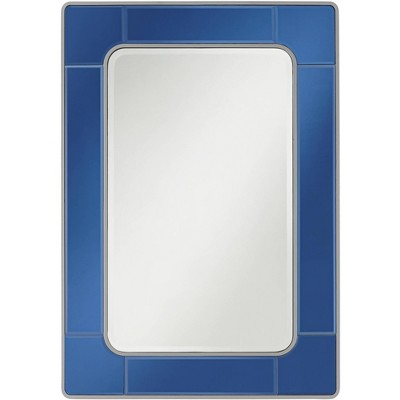 "Possini Euro Design Possini Euro Leonid 28"" x 40"" Blue Rectangular Modern Wall Mirror"