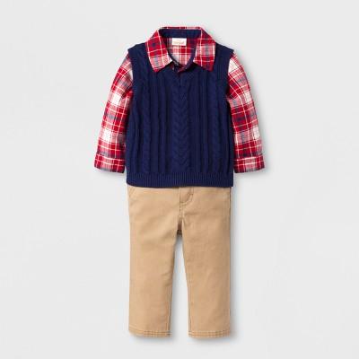 Baby Boys' 3-Piece Flannel, Sweater Vest and Pants Set - Cat & Jack™ Plaid/Blue/Khaki 0-3 M