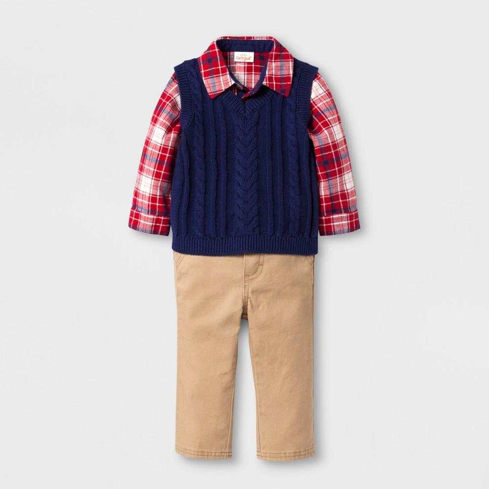 Baby Boys' 3-Piece Flannel, Sweater Vest and Pants Set - Cat & Jack Plaid/Blue/Khaki Newborn