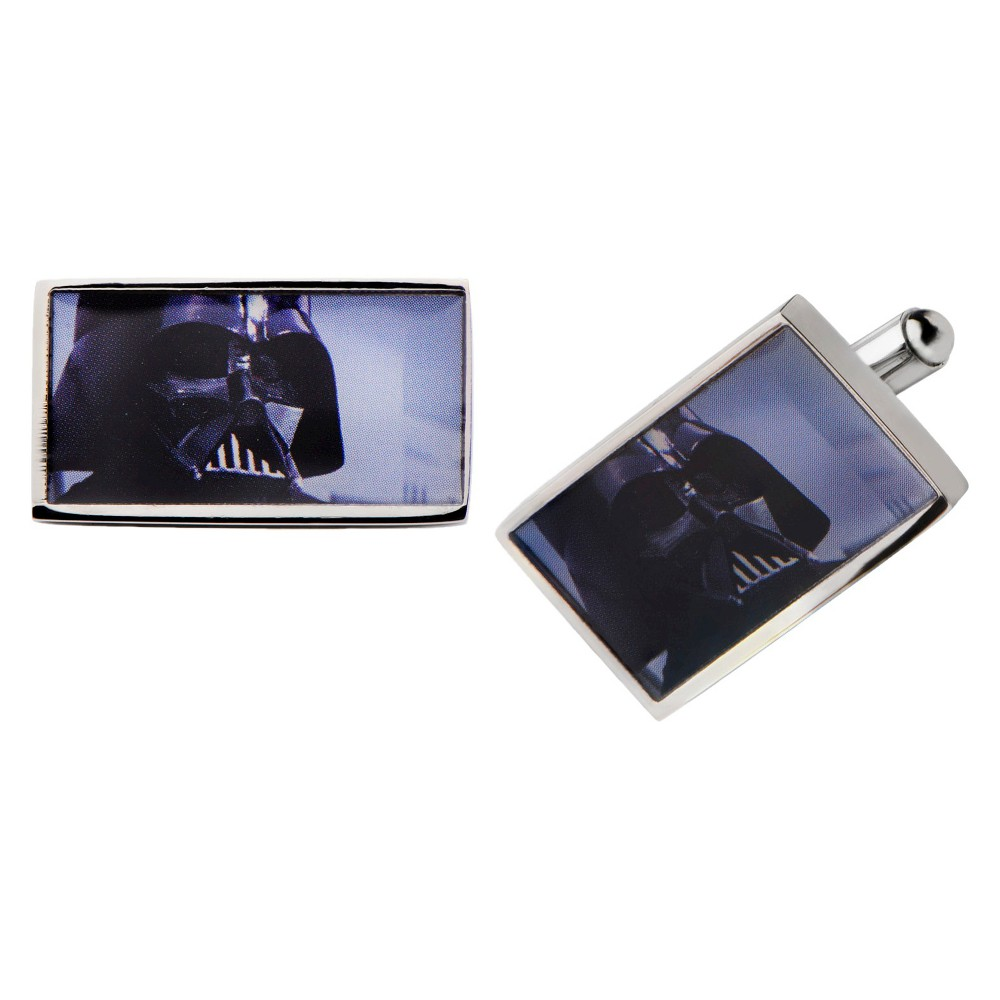 Men's Star Wars Darth Vader Graphic Stainless Steel Rectangular Cufflinks