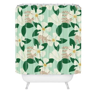 Hello Sayang Urban Jungle Hibiscus Shower Curtain Green - Deny Designs