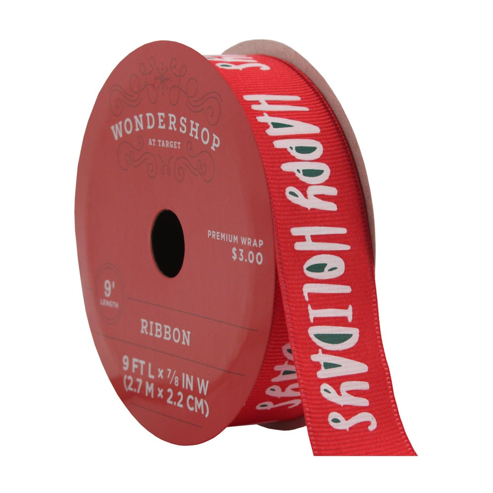Happy Holidays Red Fabric Ribbon - Wondershop