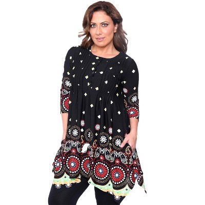 Women's Plus Size 3/4 Sleeve Printed Lucy Tunic Top - White Mark
