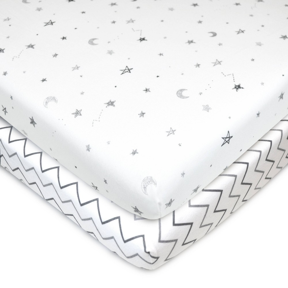 Tl Care 100 Fitted Cotton Playard Sheet Star Cheveron 2pk