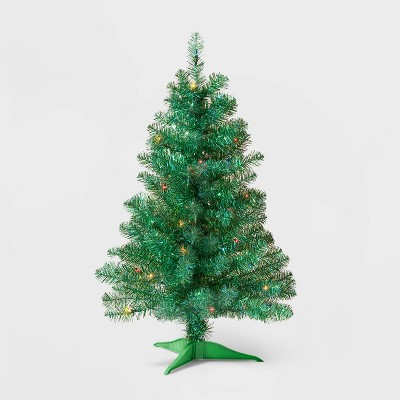 3ft Pre-lit Shiny Green Tinsel Iridescent Alberta Spruce Multicolor Lights - Wondershop™