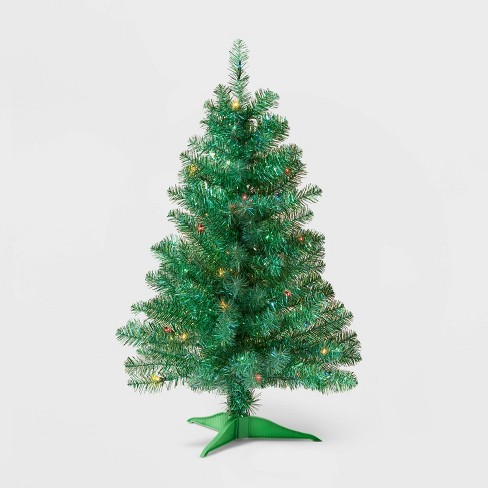 3ft Pre-lit Shiny Green Tinsel Iridescent Alberta Spruce Multicolor Lights - Wondershop™ - image 1 of 2