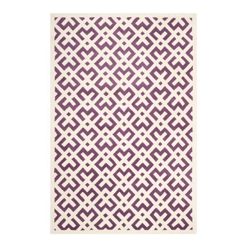 Purple/Ivory Geometric Tufted Accent Rug 4'X6' - Safavieh