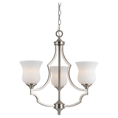 Cal Lighting Barrie Modern Pendant Metal & glass3 light chandelier - image 1 of 1