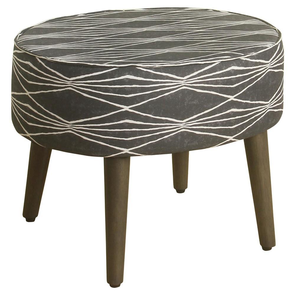 Mid Mod Oval Stool Wood Legs - Gray - HomePop