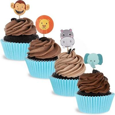Juvale 200-Pack Jungle Safari Zoo Animal Cupcake Decorations Cake Topper Food Picks, 4 Designs, 1 x 3 in