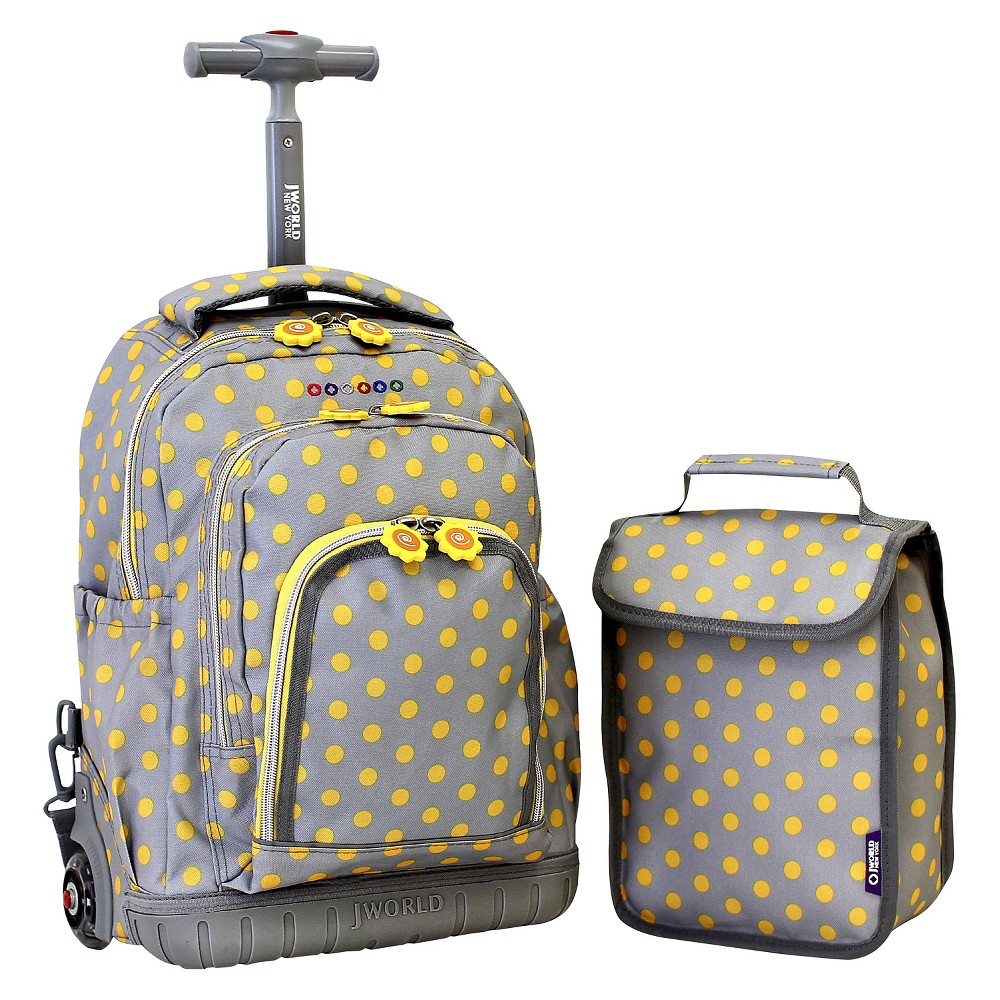 "Image of ""J World 16"""" Lollipop Rolling Backpack with Lunch Kit - Gray/Yellow, Kids Unisex"""