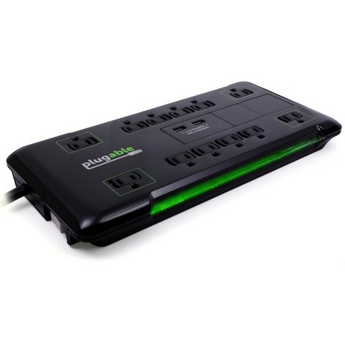 Plugable Surge Protector Power Strip with USB and 12 AC Outlets, Built-in 10.5W 2-Port USB Charger for Android, Apple iOS, and Windows Mobile Devic... - image 1 of 4