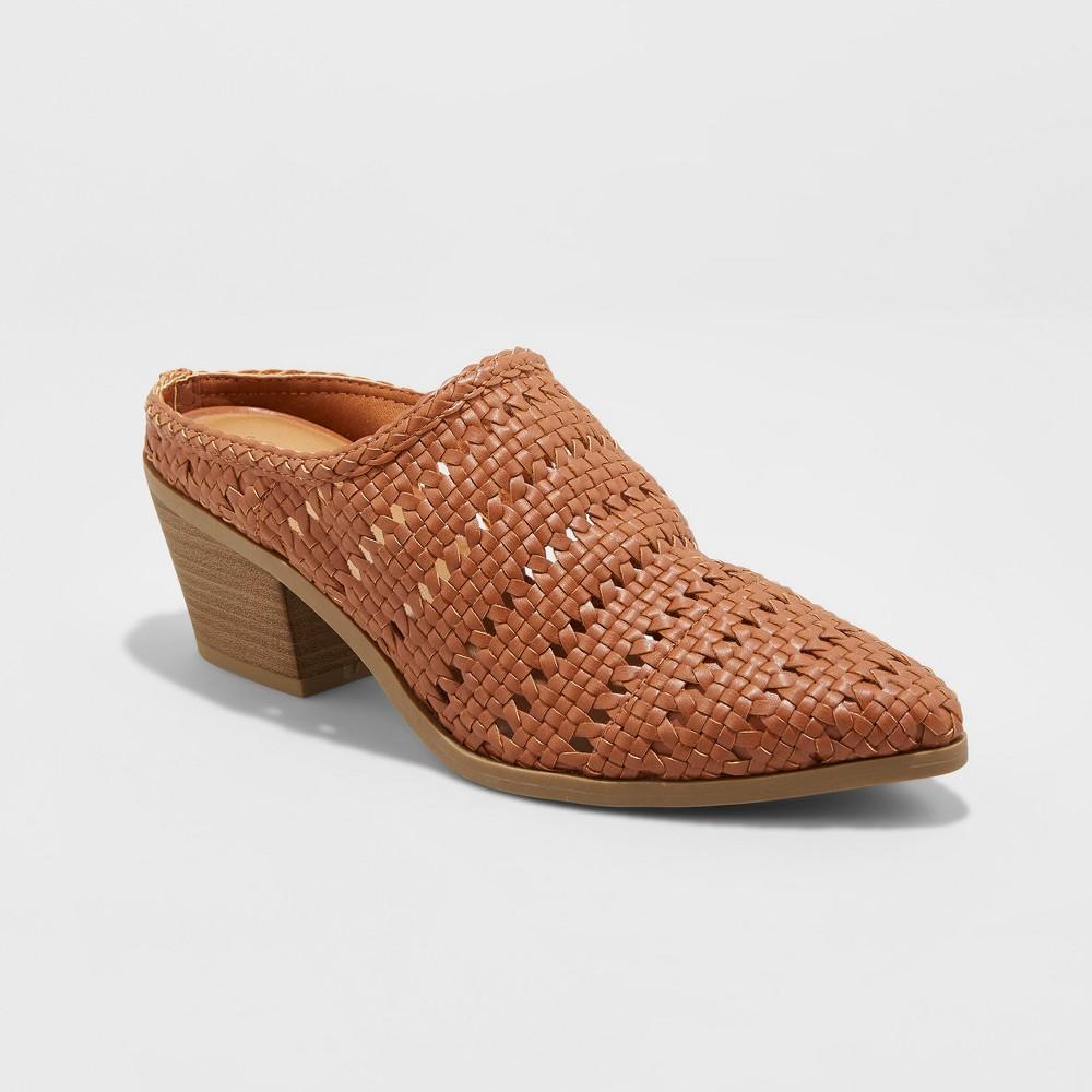 Women's Kallie Wide Width Woven Heeled Mules - Universal Thread Cognac (Red) 7.5W, Size: 7.5 Wide