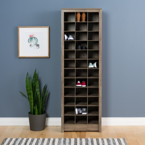 Space Saving Shoe Storage Cabinet Drifted Gray Prepac Target