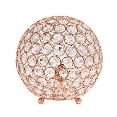 "8"" Elipse Crystal Ball Sequin Table Lamp Rose Gold - Elegant Designs"