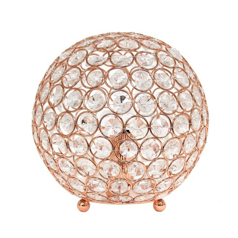 "8"" Elipse Crystal Ball Sequin Table Lamp Rose Gold - Elegant Designs - image 1 of 4"