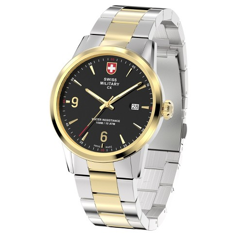 Men's Swiss Military by Charmex Officer 2 tone steel band watch - Two Tone - image 1 of 2