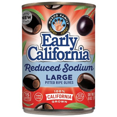 Early California Reduced Sodium Large Pitted Ripe Olives - 6oz