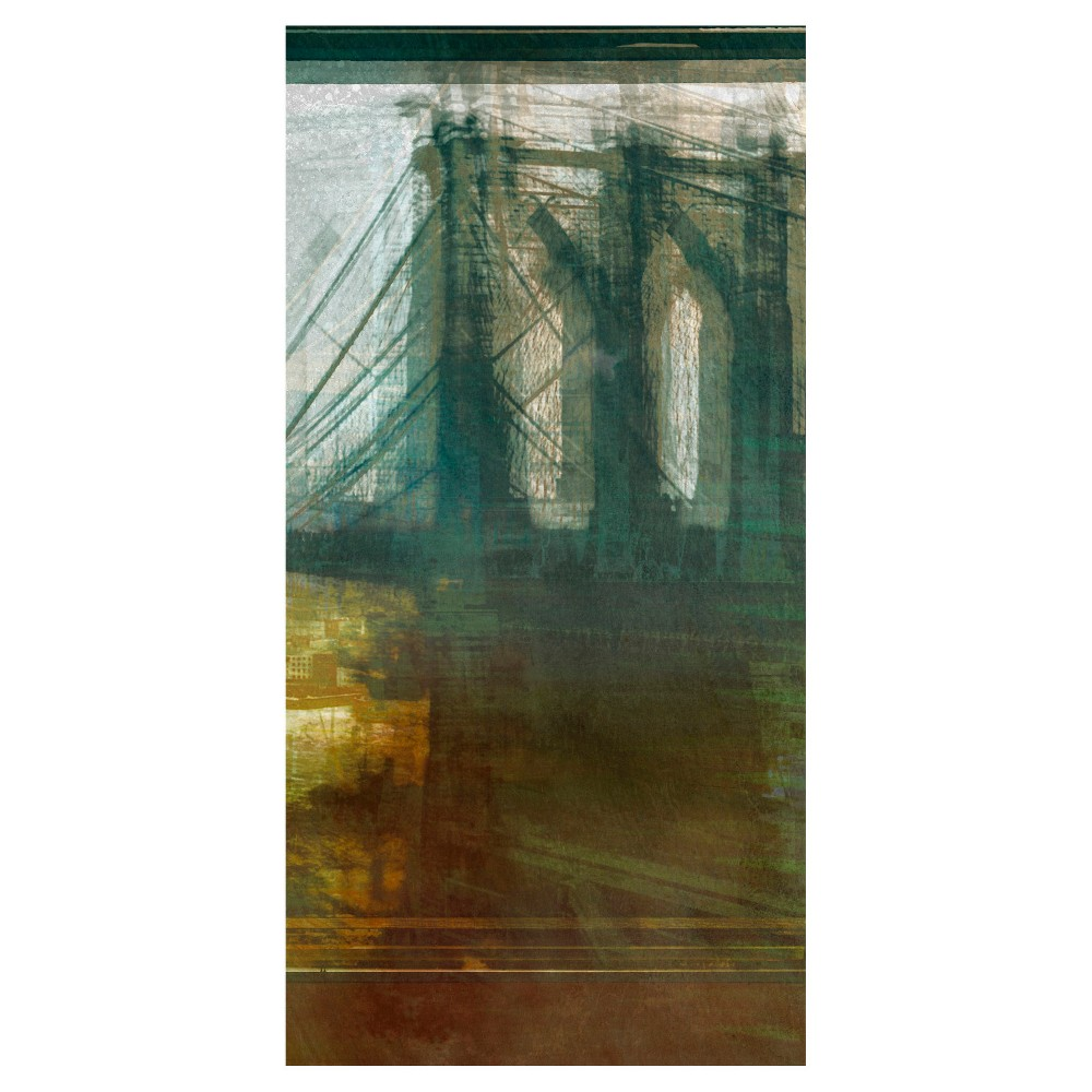 Brooklyn Bridge Abstract Unframed Wall Canvas Art - (18X36), Multi-Colored
