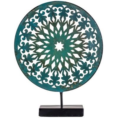 Decorative Medallion Figurine Metal - Teal