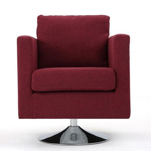 Astounding Holden Modern Swivel Chair Deep Red Christopher Knight Theyellowbook Wood Chair Design Ideas Theyellowbookinfo
