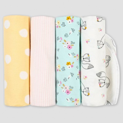 Gerber Baby Girls' 4pk Fox Flannel Blanket Set - Pink