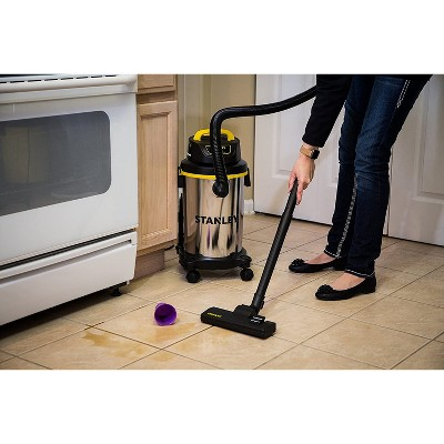 Stanley SL18129 Portable Stainless Steel 4 Gallon Wet Dry Floor Vacuum Cleaner And Blower With Mobile Wheels, Hose, And Accessories : Target