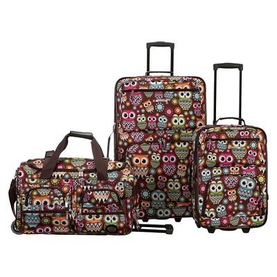 Rockland Spectra 3pc Luggage Set - Owl