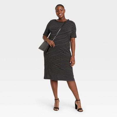 Women's Plus Size Short Sleeve Striped Knit Swing Dress - Ava & Viv™ Black