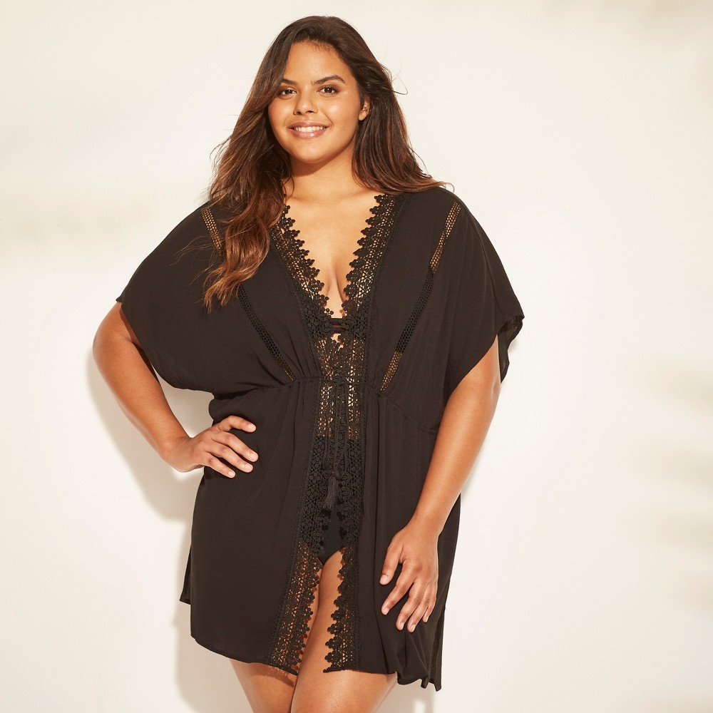 Women's Plus Size Lace Trim Tie Front Cover Up - Cover 2 Cover Black 1X