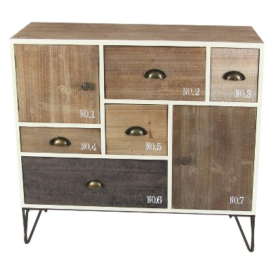 Wood and Metal 7 Drawer Buffet White/Black - Olivia & May