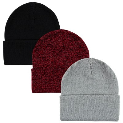 Hudson Baby Family Knit Cuffed Beanie 3pk, Heather Red Black