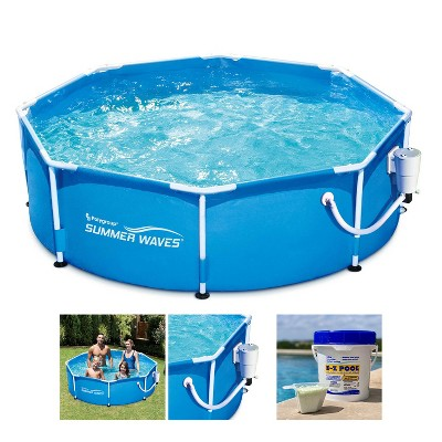 Summer Waves P2000830A Active 8ft x 30in Outdoor Round Frame Above Ground Swimming Pool Set with Filter Pump, Cartridge & Solution Blend