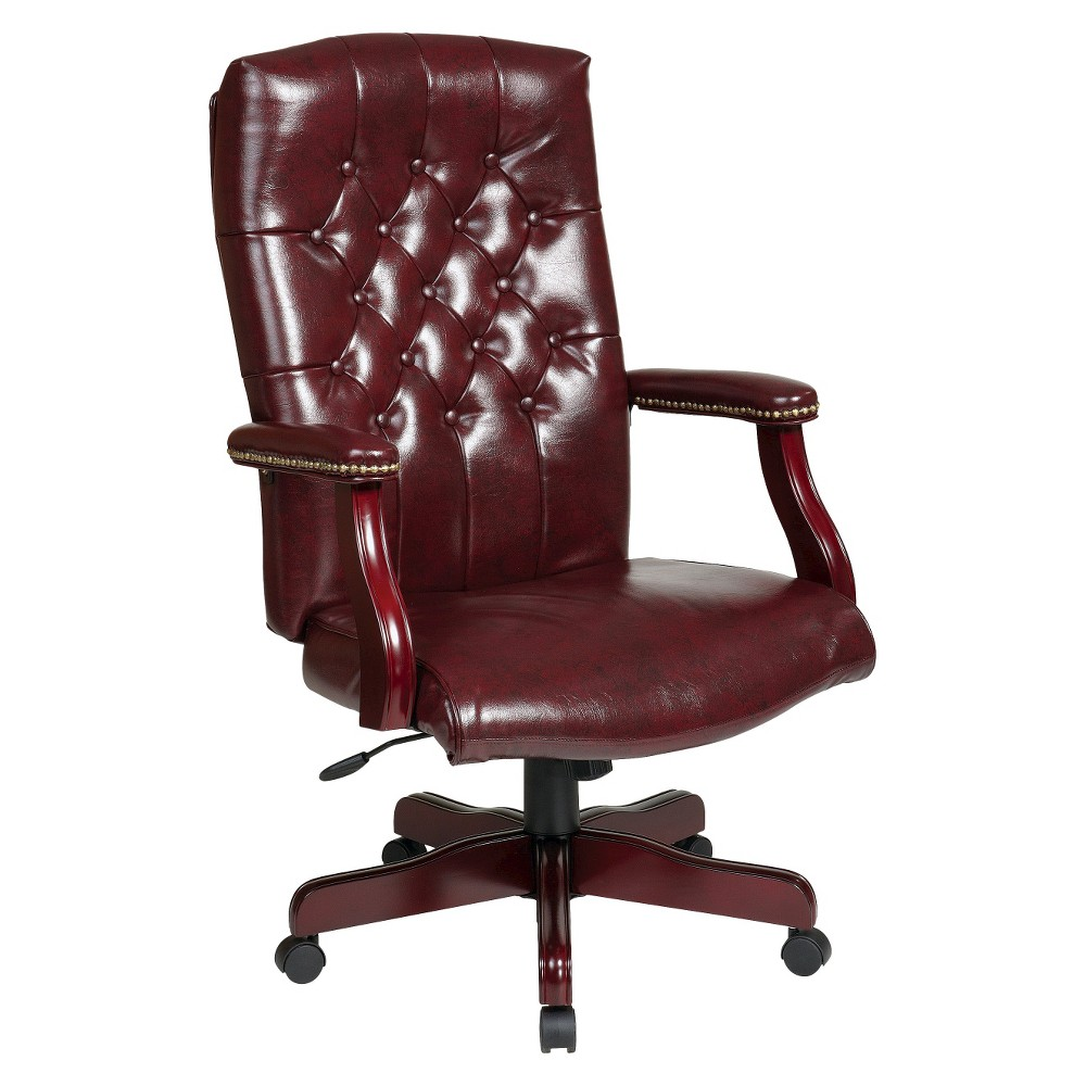 Executive Chair with Tufting Burgundy - Office Star, Red/Deep Red