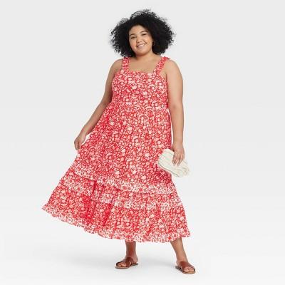 Women's Floral Print Smocked Tiered Tank Dress - Universal Thread™