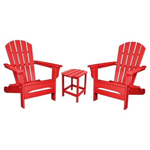 Fabulous Polywood St Croix Folding Adirondack 3 Piece Set Sunset Red Squirreltailoven Fun Painted Chair Ideas Images Squirreltailovenorg