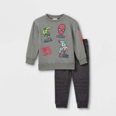 Toddler Boys' Marvel Superheros Long Sleeve Fleece Crew Neck Top and Bottom Set - Cream