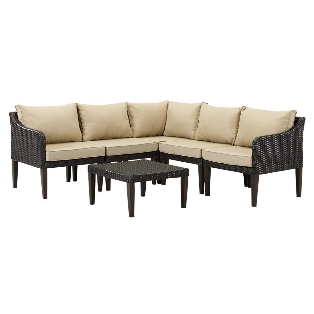Image of 6pc Bari Wicker Lounge Set Brown/Tan - DH Casual