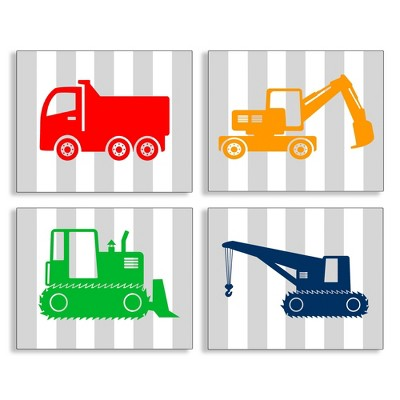 """Construction Vehicles On Gray Stripes 4pc Wall Plaque Art Set (10""""x15""""x0.5"""") - Stupell Industries"""