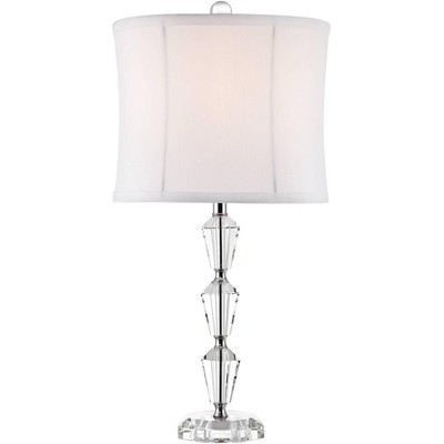 Vienna Full Spectrum Modern Accent Table Lamp Faceted Crystal Column Geneva White Drum Shade for Living Room Family Bedroom Office