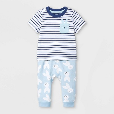 Baby Boys' 2pc Bunny Top & Bottom Set - Cat & Jack™ Blue